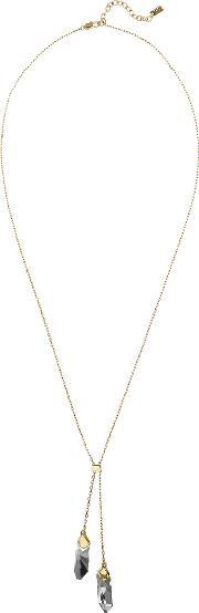 Tamrah Womens Double Stone Necklace With Crystals From Swarovski In Yellow