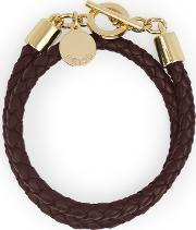 Toucan Leather And Metal Bracelet In Red, Womens