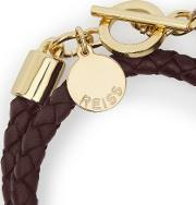 Toucan Womens Leather And Metal Bracelet In Red