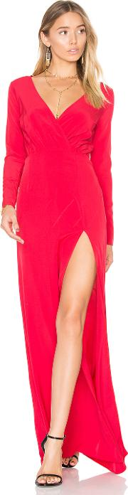Embroidered Drape Neck Gown
