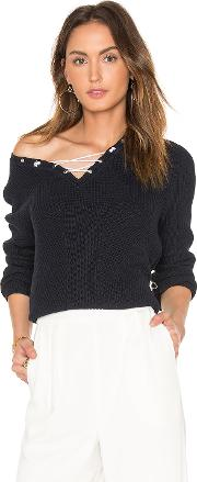 Cotton Shaker Faux Lace Up Sweater