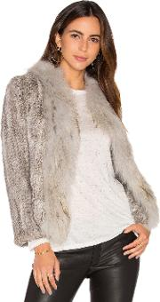 Frill Collar Jacket With Fox And Rabbit Fur