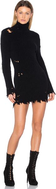 Destroyed High Neck Boucle Sweater Dress