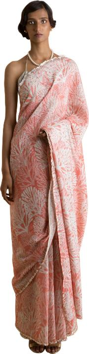 Coral Printed & Embroidered Saree
