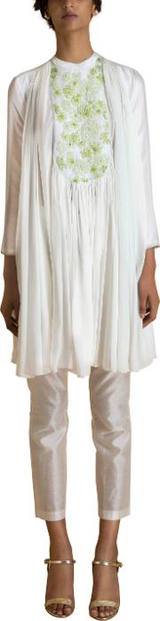 Ivory Hand Embroidered Flared Tunic
