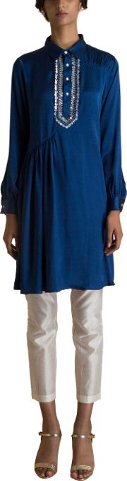 Navy Blue Embroidered Satin Tunic