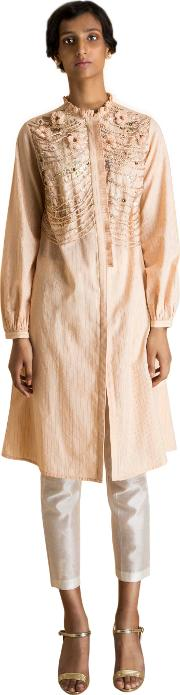 Stripped Peach Embroidred Tunic