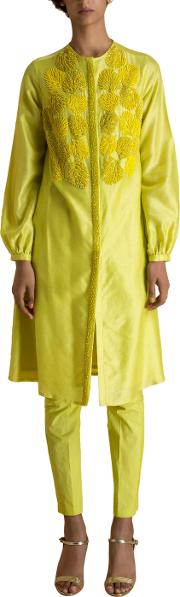 Yellow Coral Embroidery Tunic