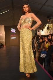Golden yellow colour evening gown