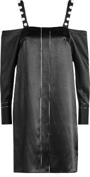 3.1 Phillip Lim Cold Shoulder Silk Dress With Faux Pearls