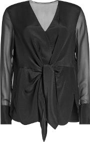 Silk Blouse With Knot Detail
