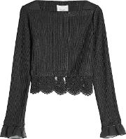 Pleated Blouse With Lace
