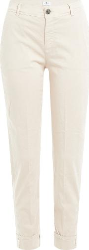 Cotton Sateen Cropped Chinos