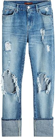 Distressed Jeans With Cuffed Ankles