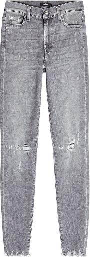 High Waisted Cropped Skinny Jeans