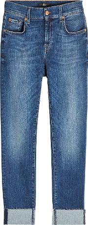 Relaxed Skinny Jeans With Raw Hem