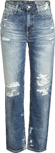 Distressed Jeans With Embroidery