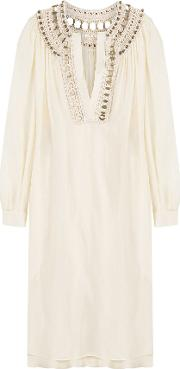 Silk Tunic Dress With Embellished Crochet Trim