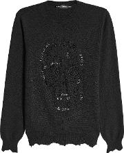 Alexander Mcqueen Distressed And Embellished Wool And Cashmere Pullover