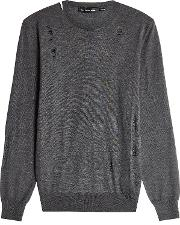 Alexander Mcqueen Distressed Wool Pullover With Silk