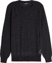 Distressed Wool And Silk Pullover