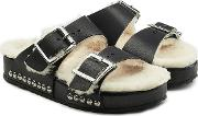 Leather Sandals With Shearling Insole