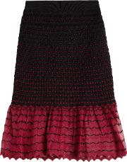 Textured Knit Skirt With Contrast Hem