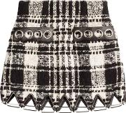 Boucle Skirt With Leather