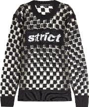 Checkerboard Wool Pullover