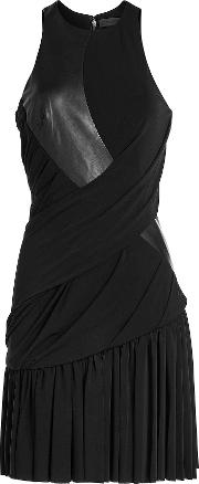 Draped Dress With Leather