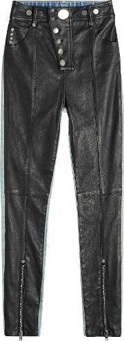 Leather And Denim Pants With Snappers