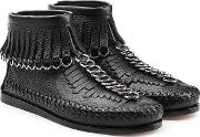 Leather Moccasin Ankle Boots