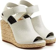 Leather Sandals With Raffia Wedges