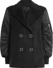 Pea Coat Bomber Jacket With Wool And Cashmere