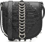 Studded Leather Shoulder Bag With Rings
