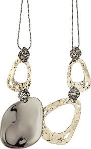 10kt Gold Necklace With Pyrite And Crystals