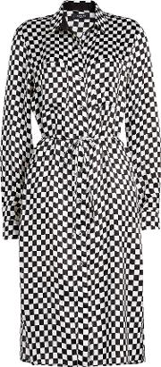 Checkerboard Printed Silk Shirt Dress