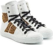 Leather Sneakers With Printed Calf Hair