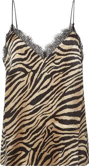 Alicia Printed Silk Camisole With Lace