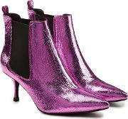 Stevie Metallic Leather Ankle Boots