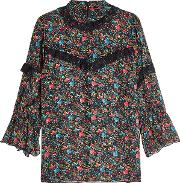 Printed Silk Blouse With Lace