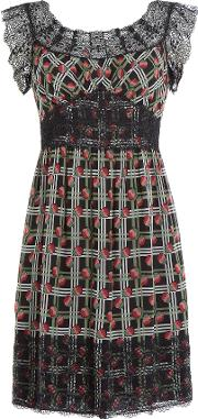 Printed Silk Dress With Lace Trim