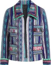 Serape Striped Jacket With Fringe