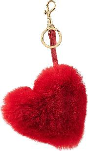 Heart Keychain With Leather And Rabbit Fur