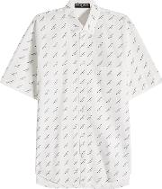 Balenciaga Allover Print Cotton Shirt