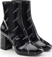 Printed Patent Leather Ankle Boots