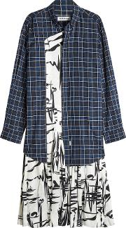 Printed Shirt Dress In Cotton And Silk
