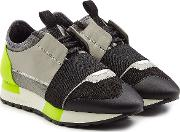 Race Runner Sneakers With Leather And Mesh