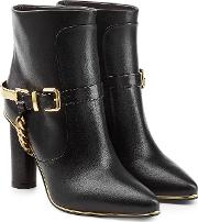 Leather Ankle Boots With Chain Embellishment