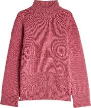 High Low Cashmere Pullover With Turtleneck